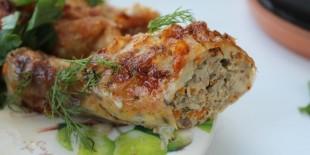 Фаршированные куриные голени - рецепт приготовления