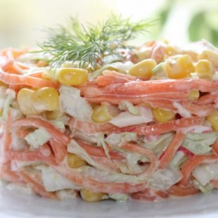 Салат с морковью по-корейски и крабовыми палочками «Валерия» - рецепт приготовления