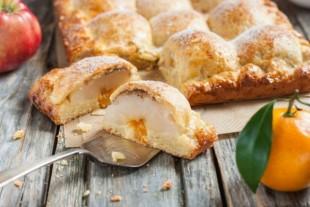 Пирог из творожного теста с яблоками - рецепт приготовления