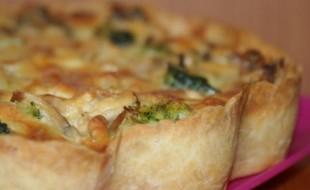 Лоранский пирог с курицей, грибами и брокколи - рецепт приготовления